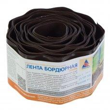 Лента бордюрная декоративная «Гофра» высота 10 см цвет  коричневый