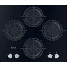 Варочная панель газовая Hotpoint QS 61S/BK, 4 конфорки, 60x51 см, цвет чёрный
