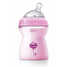 Бутылочка Chicco Natural Feeling,2мес.+ 250мл., розовая  310205208