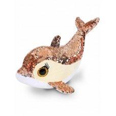 Мягкая игрушка Дельфин Сияна золотая с пайетками 35 см CYS4583-1 ТМ Коробейники