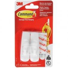 Крючок Command 17001, средний, 2 шт/4пол, белый